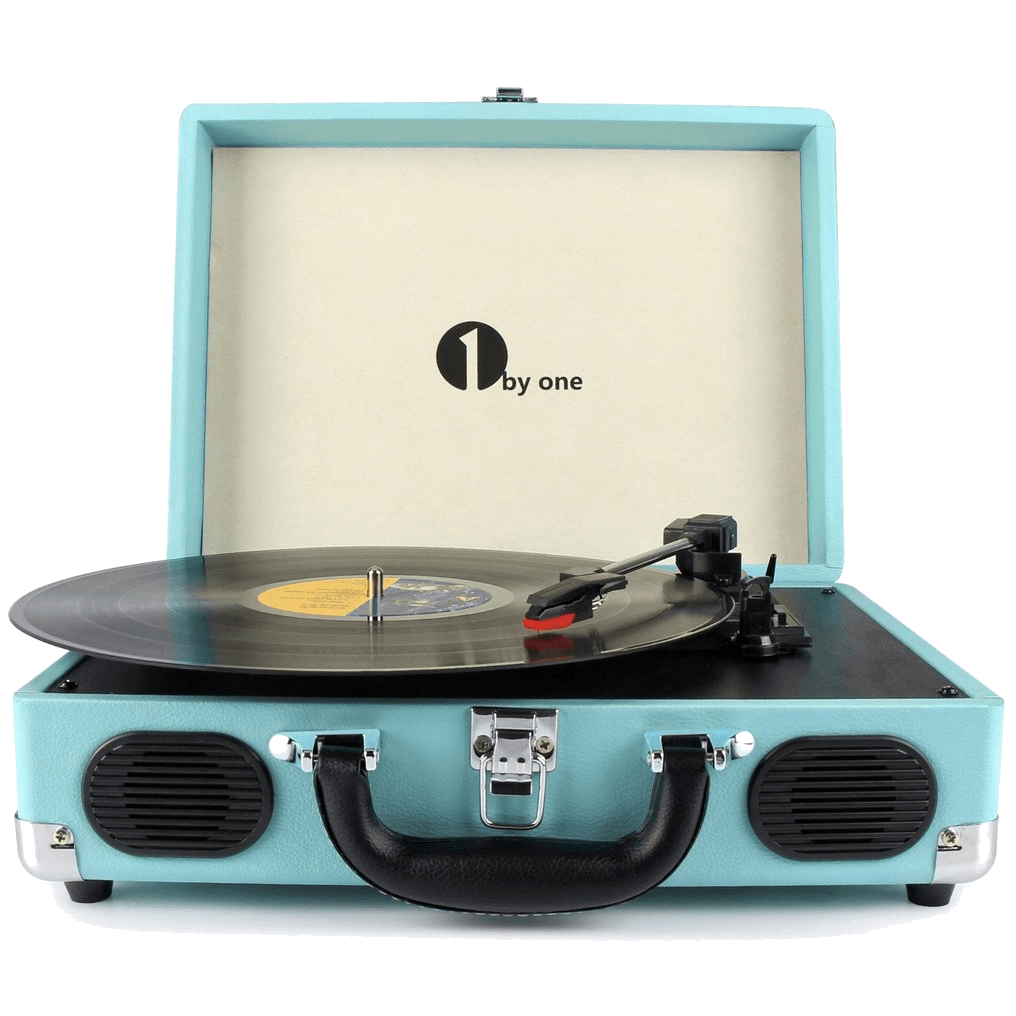1byone Belt-Drive 3-Speed Portable Turntable