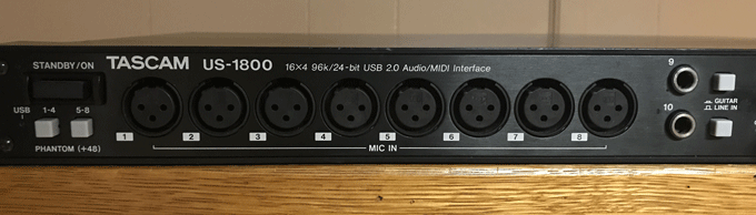 Tascam US-1800 Switches and Inputs