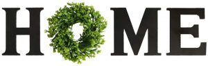 Wooden Home Sign with Wreath